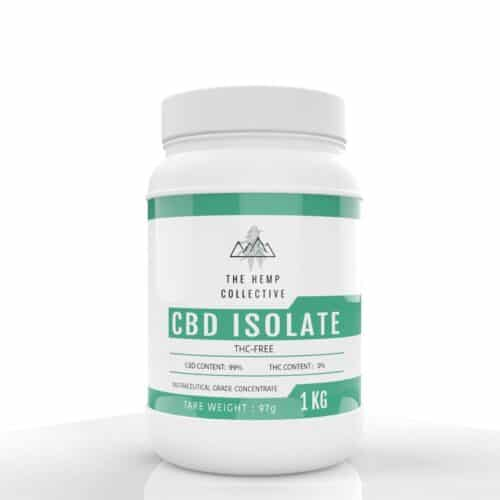 CBD Isolate powder is pictured here in a 1 Kilo container. This CBD Isolate is THC-Free and is 99% pure CBD extract.